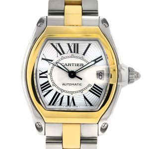 Two tone Cartier Roadster, pre owned Cartier watches, authentic used Cartier