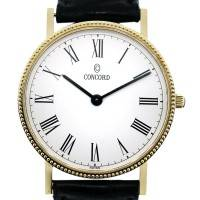 Concord 14k Yellow Gold White Roman Numeral Dial Watch