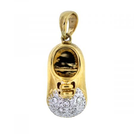 Two Tone Gold and Diamond Baby Shoe Charm