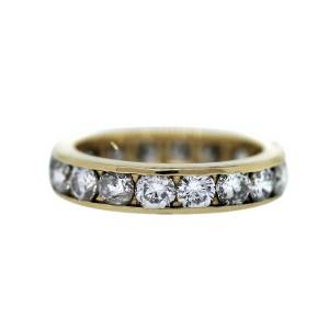 yellow gold and channel set diamond wedding ring