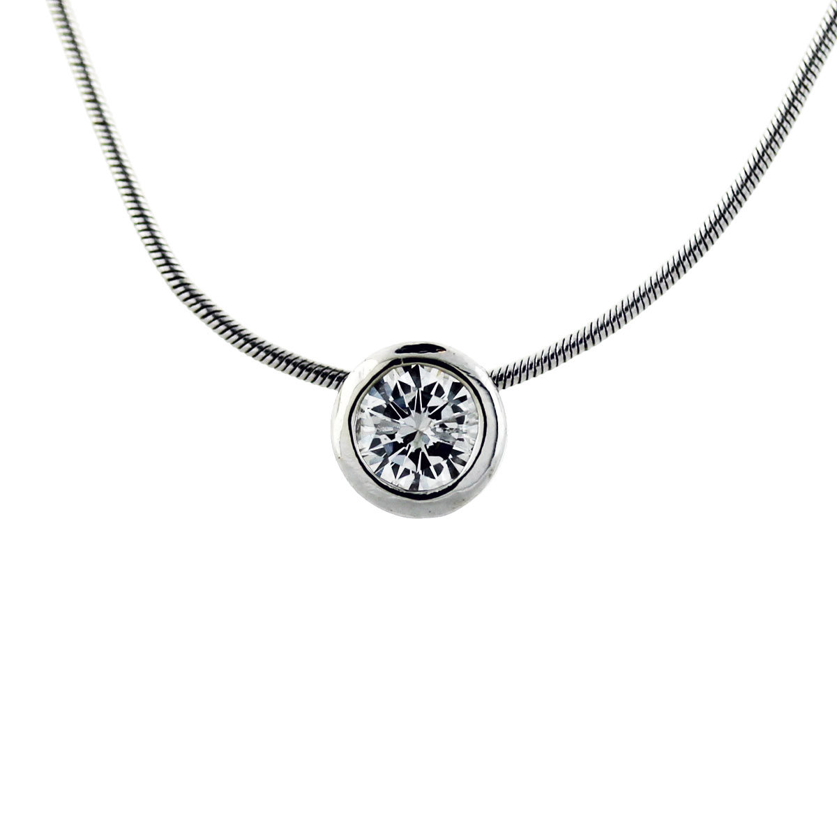 White Gold Bezel Set Diamond Pendant Necklace