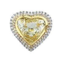 Fancy Yellow Heart Shape Diamond Engagement Ring in 18K Two Tone Gold