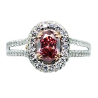 18k White Gold GLS Cert. 0.73ct Pink Oval Diamond Engagement Ring