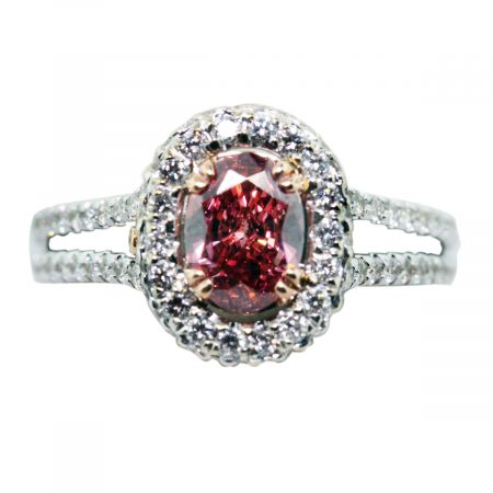 .73 pink oval diamond ring