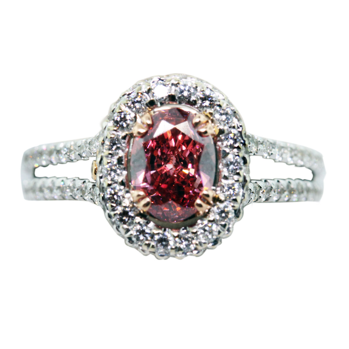 18k White Gold GLS Cert 0 73ct Pink Oval Diamond Engagement Ring