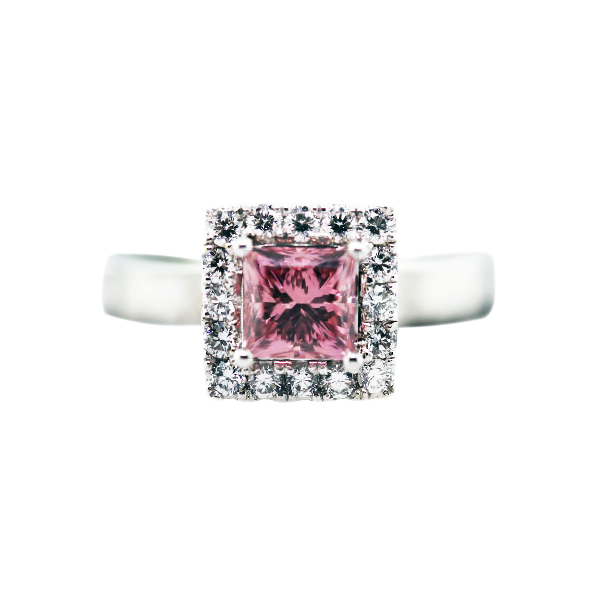 pink princess cut ring