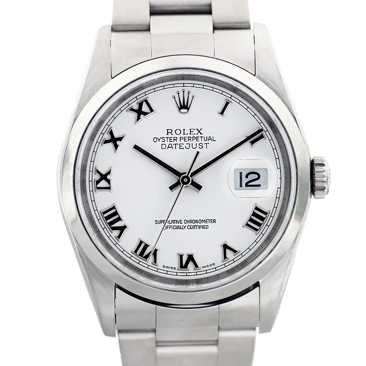 Rolex Datejust 16200 White Roman Numeral Dial Stainless