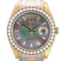 Rolex Tridor Masterpiece 18948 Tahitian Pearl Dial Watch