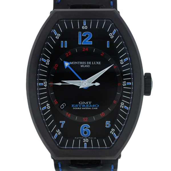 Black Dial with Blue and Red Arabic numeral Markers