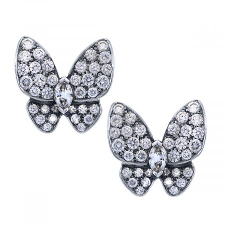 Diamond Van Cleef Two Butterfly Earring Clips