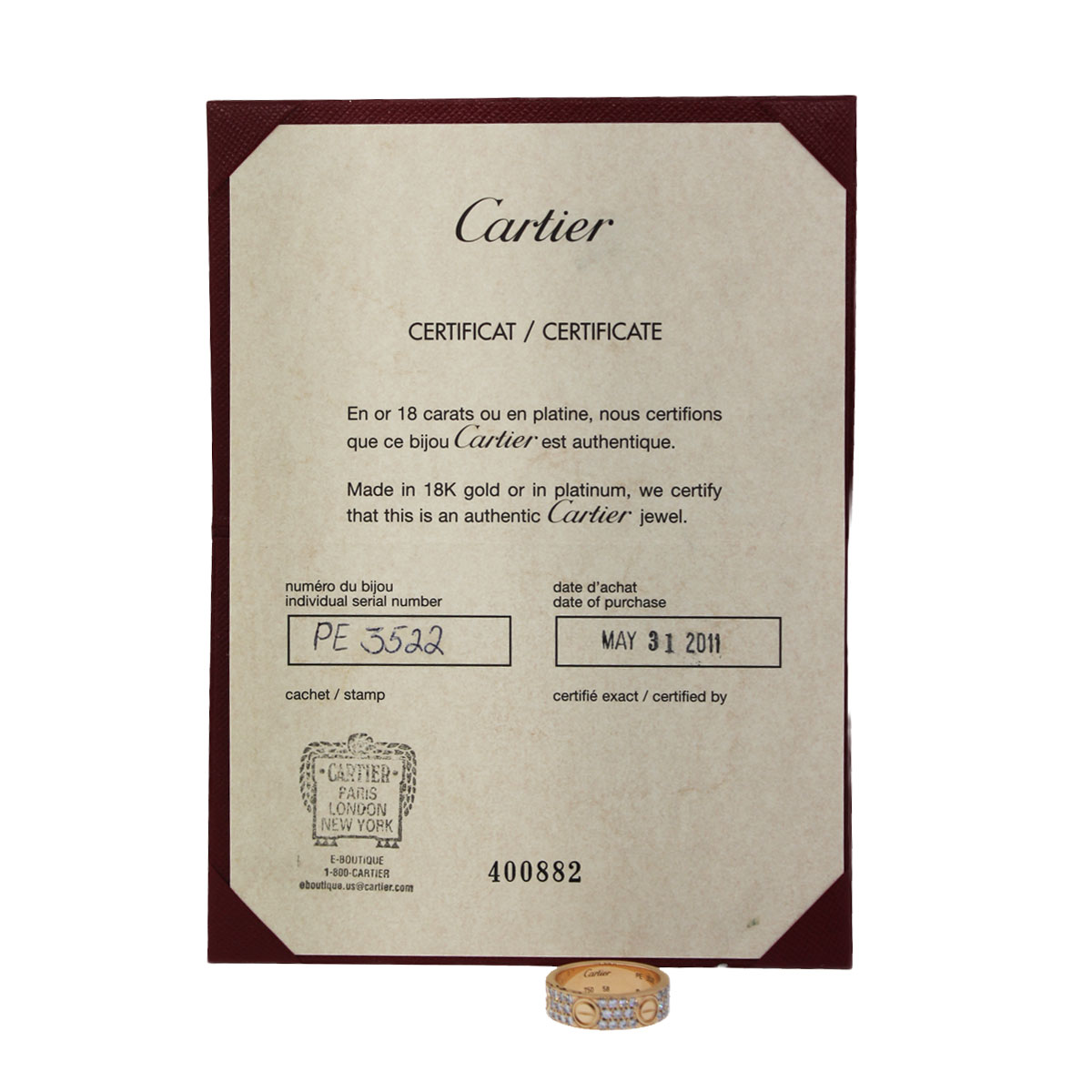 Cartier LOVE Ring Papers