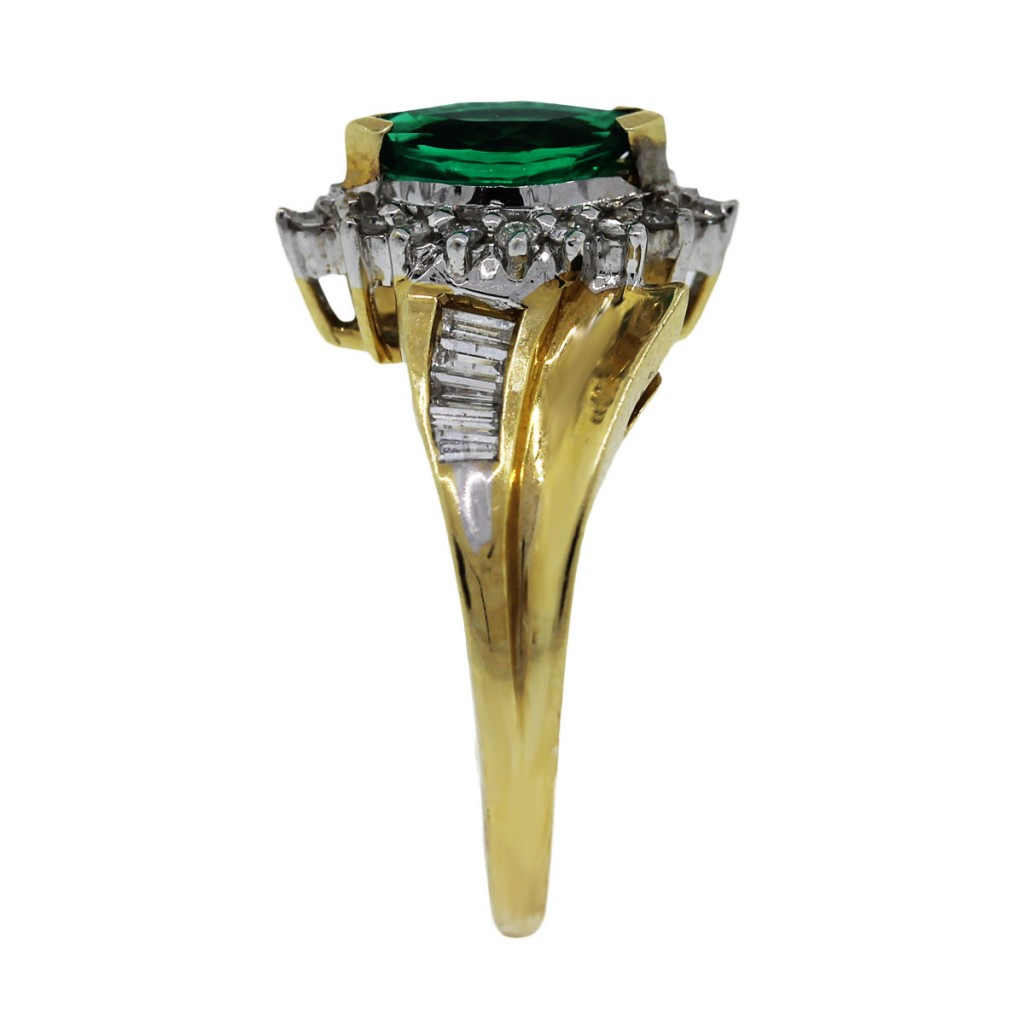 14k two tone and chatham emerald ring boca raton