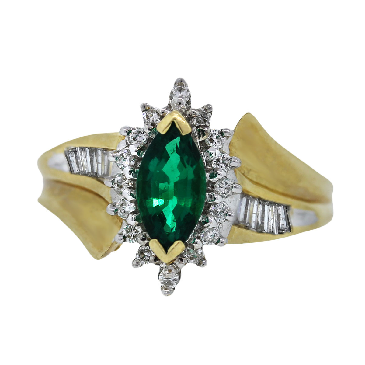 Chatham Emerald and Diamond Yellow Gold Ring
