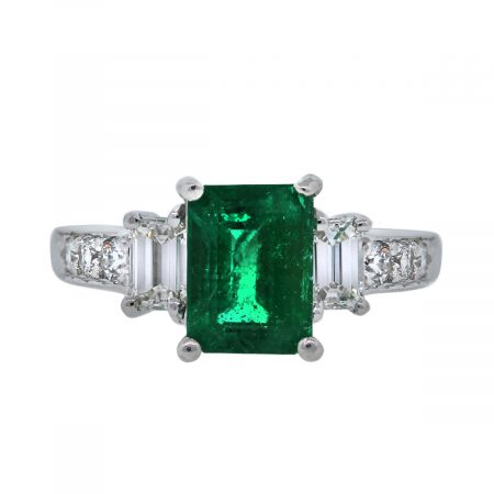 14K White Gold Diamond and Emerald Ring