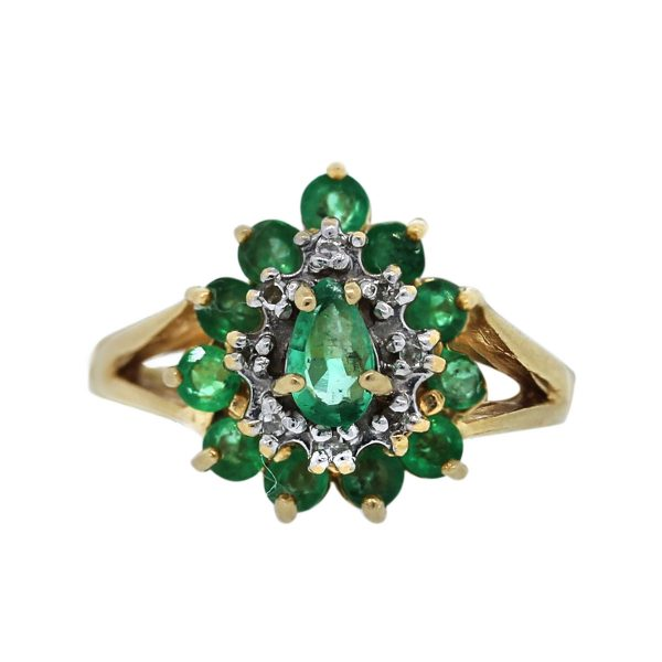 Used 14k Yellow Gold Diamond and Emerald Ring