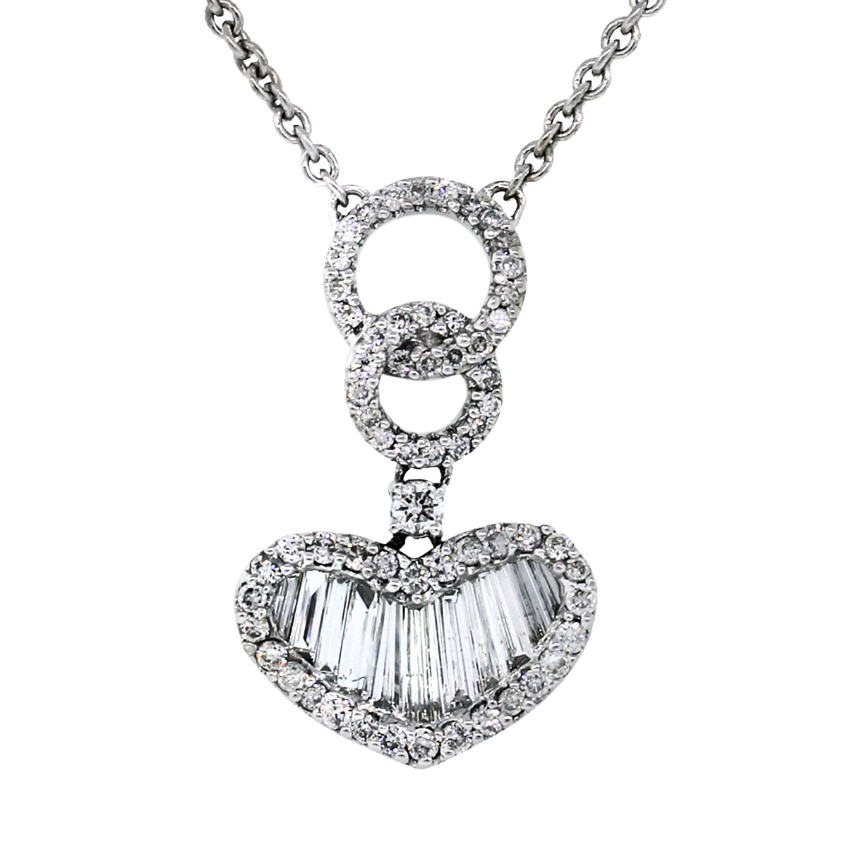 Pre Owned 14k White Gold Baguette Diamond Pendant and Necklace
