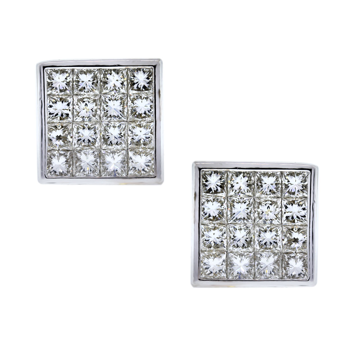18k White Gold Invisibly Set Diamond Earrings