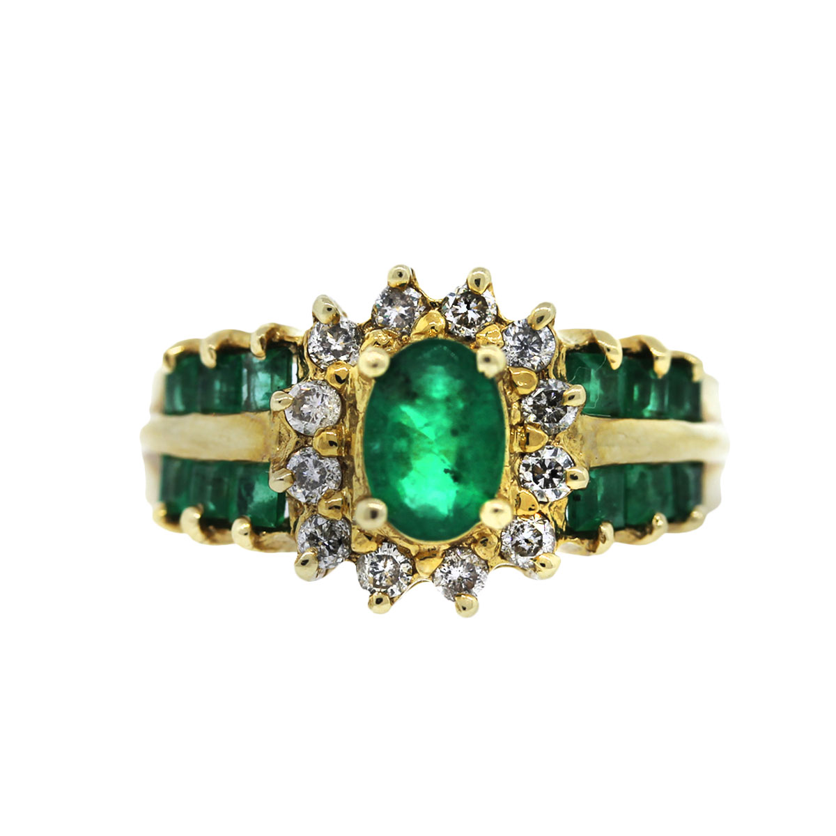 14k Yellow Gold 0.50ctw Diamond and Emerald Ring
