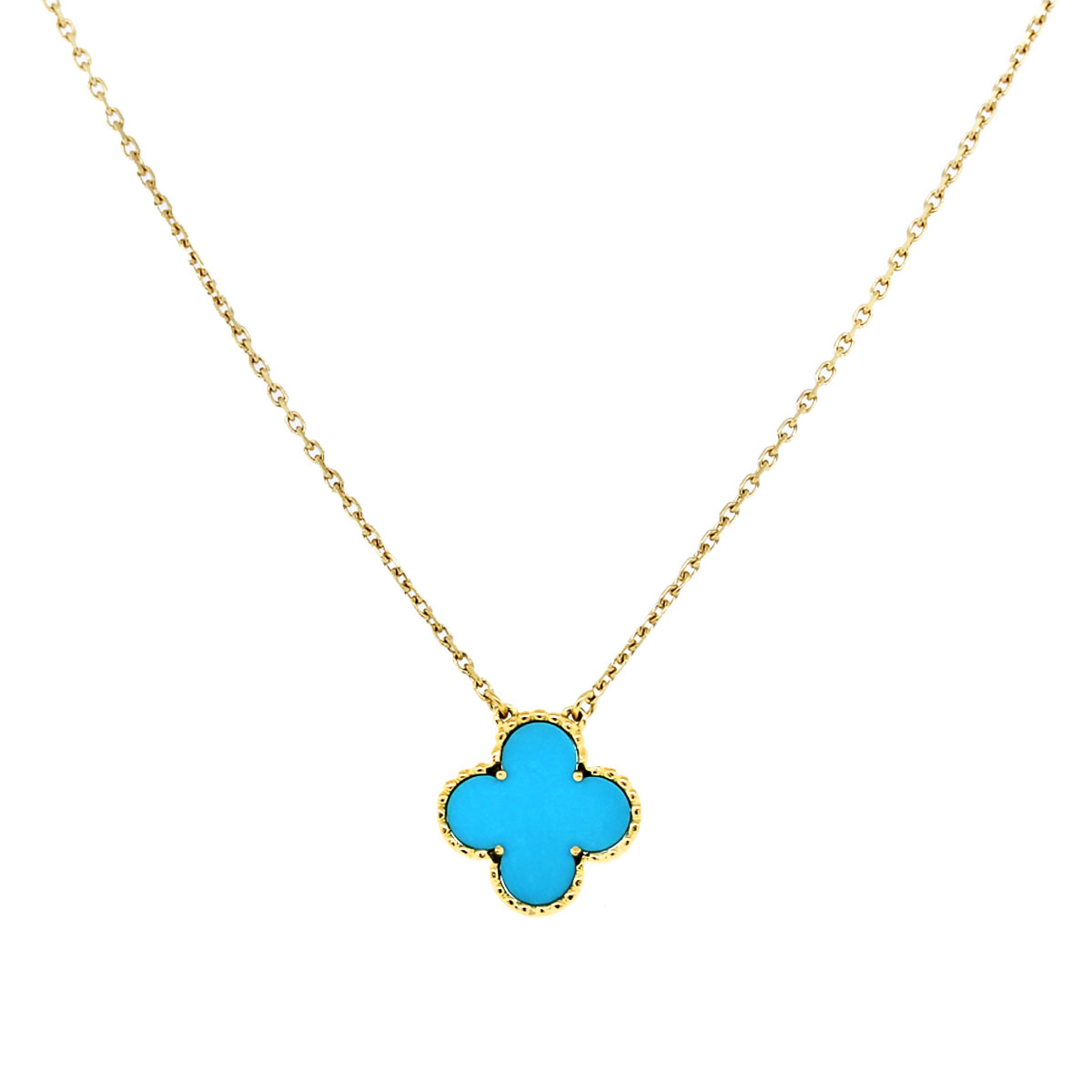 Van Cleef And Arpels Single Alhambra Turquoise Necklace