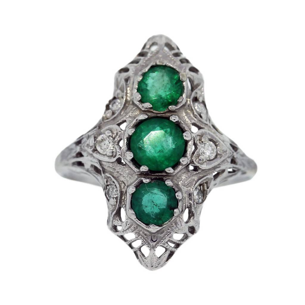 14k white gold vintage emerald and cocktail ring