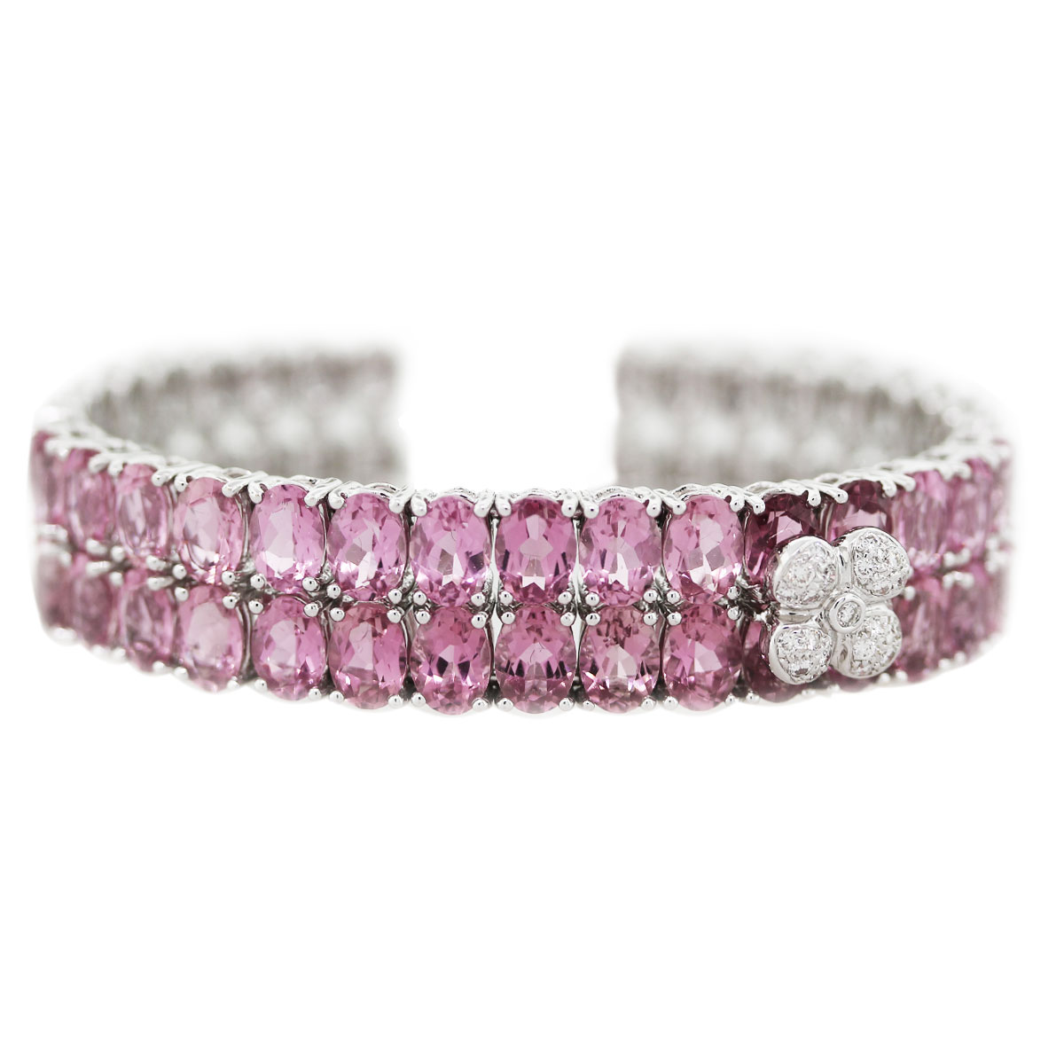 Pink Sapphire and Diamond flower cuff