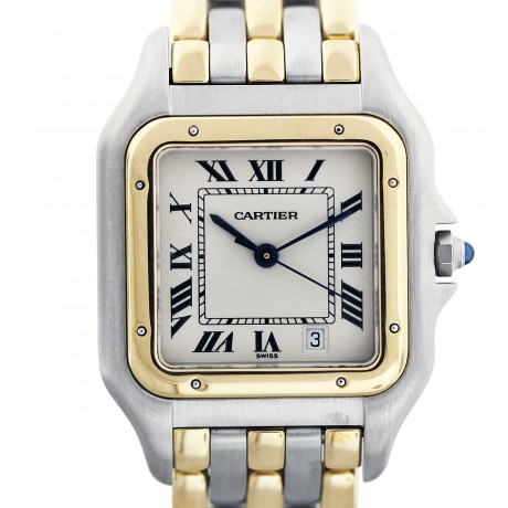 Cartier Panther 18k Yellow Gold and Stainless Steel 3 Row Mens Watch