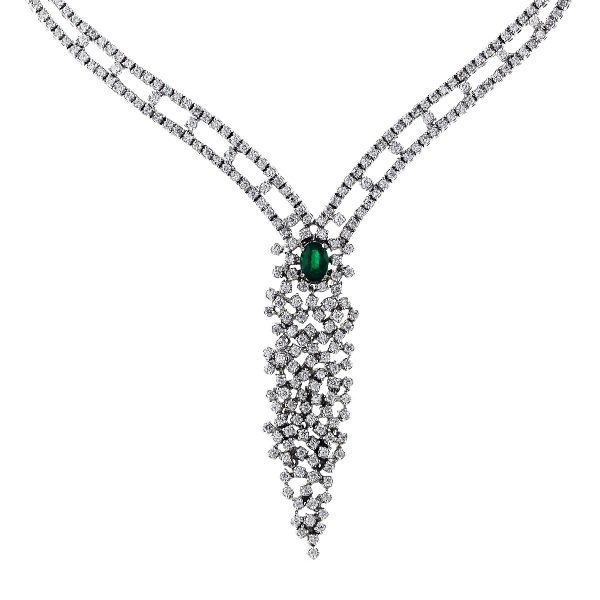 emerald cluster necklace