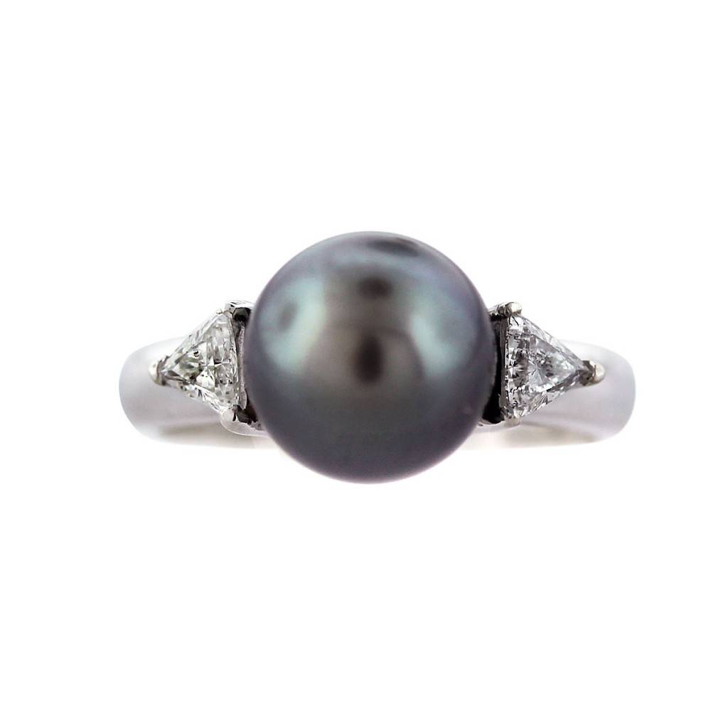 14k white gold black pearl and ring