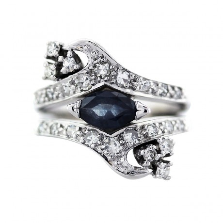 vintage white gold sapphire and ring