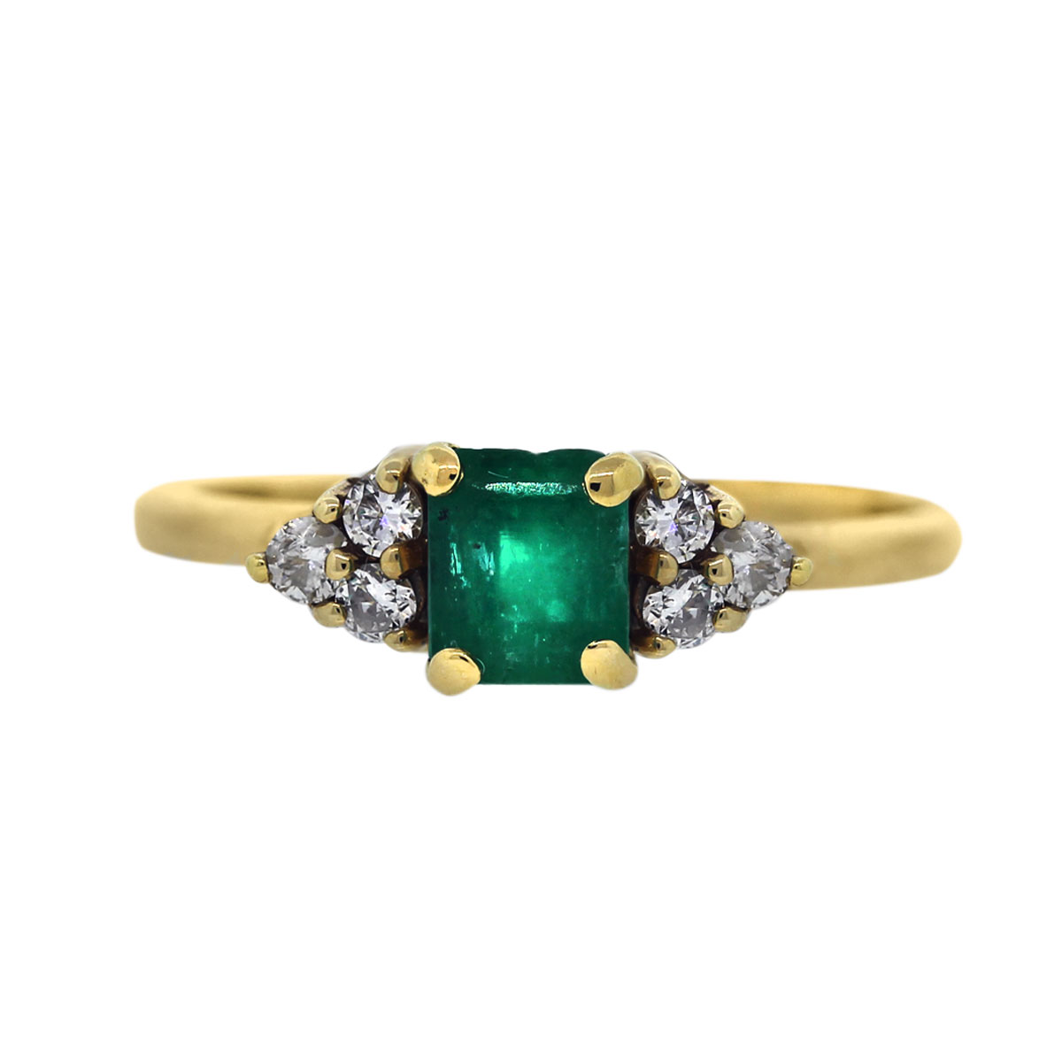 14k Yellow Gold Diamond and Emerald Cocktail Ring