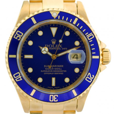 Rolex Submariner 16618 Blue Dial 18kt Yellow Gold Watch