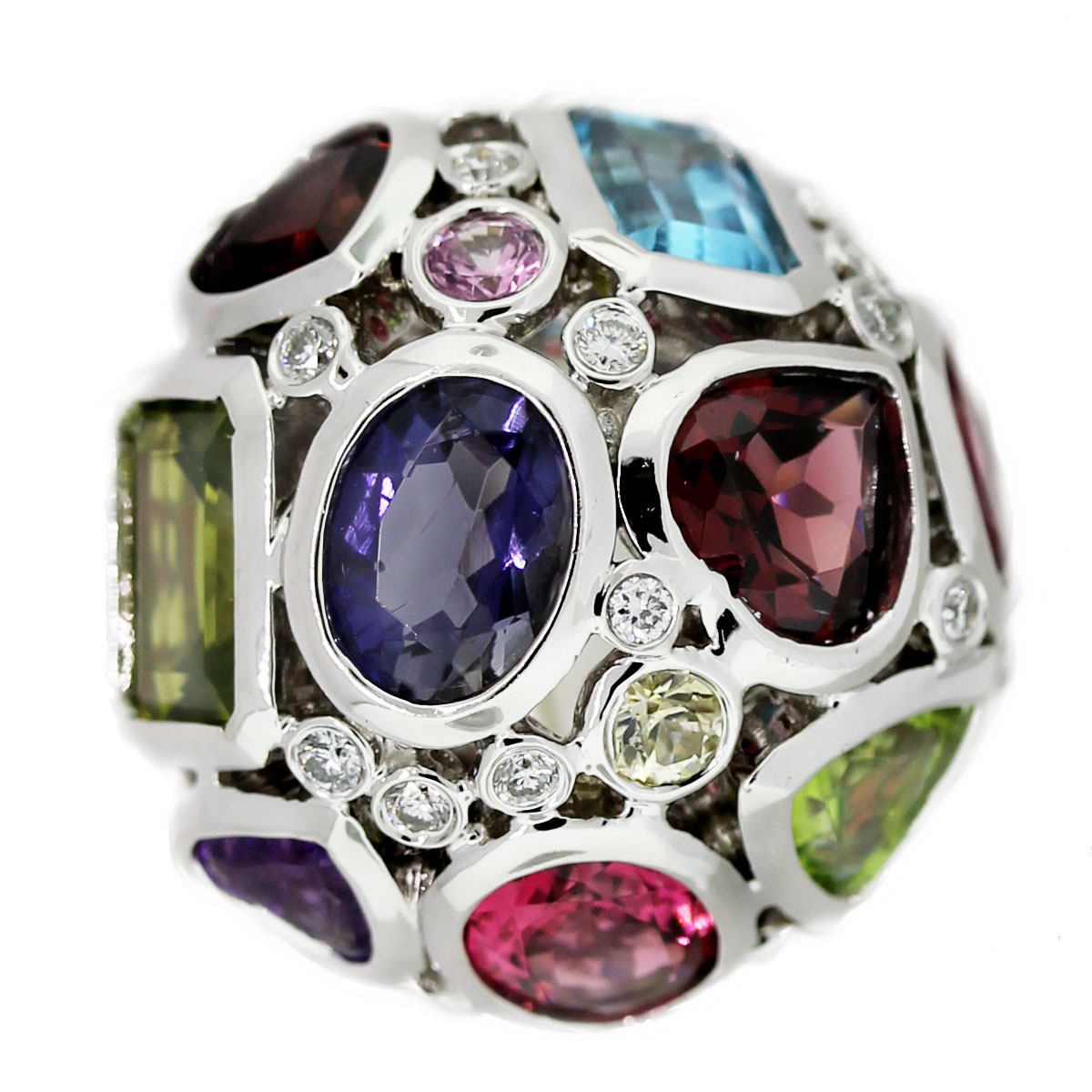 18k White Gold Multicolored Gemstone and Diamond Dome Ring