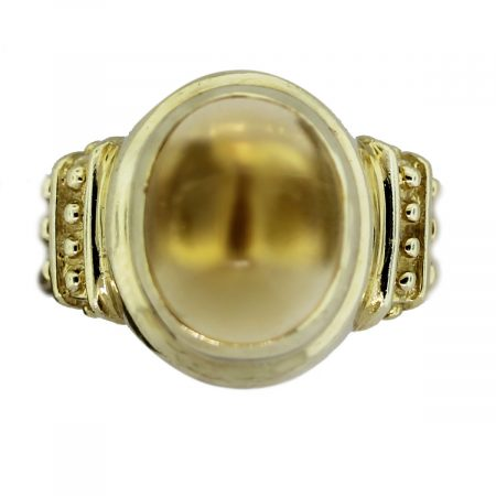 Vintage 14k Yellow Gold Citrine Cabochon Ring