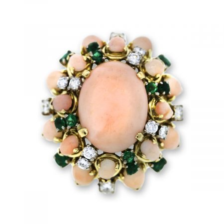 Coral, Emerald and Diamond Vintage Cocktail Ring
