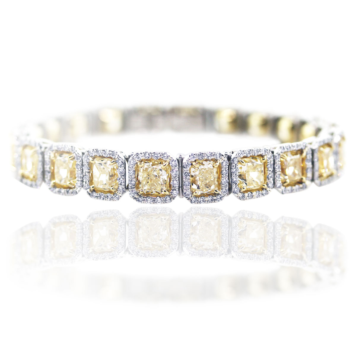22 Carat Fancy Yellow Diamond Platinum Bracelet Boca Raton