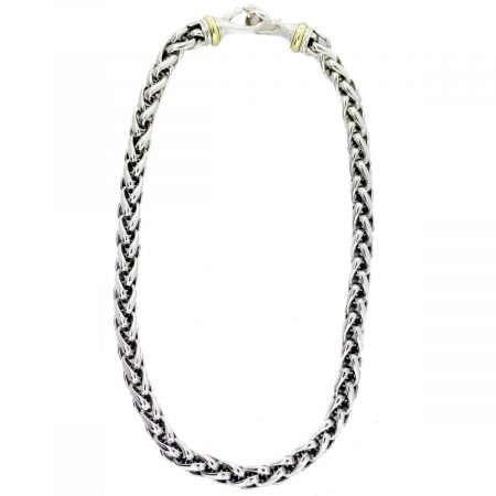 David Yurman 8mm Two Tone Wheat Chain Necklace