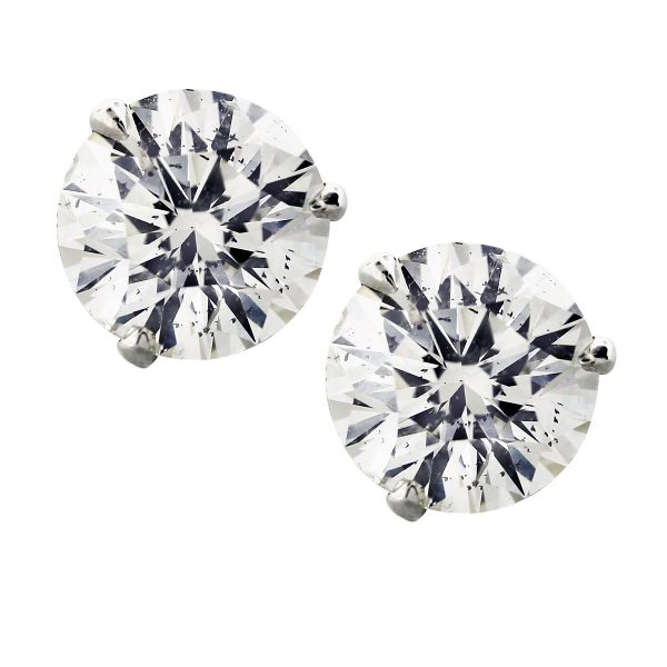 14k White gold 4.04ctw Diamond Studs