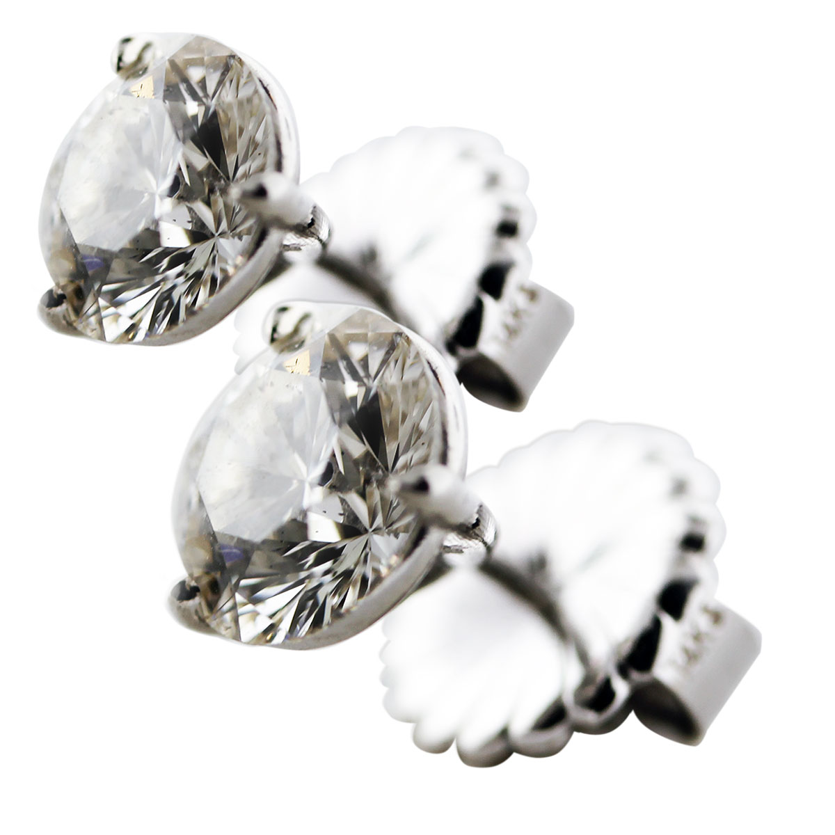 Diamond studs with post and friction backs