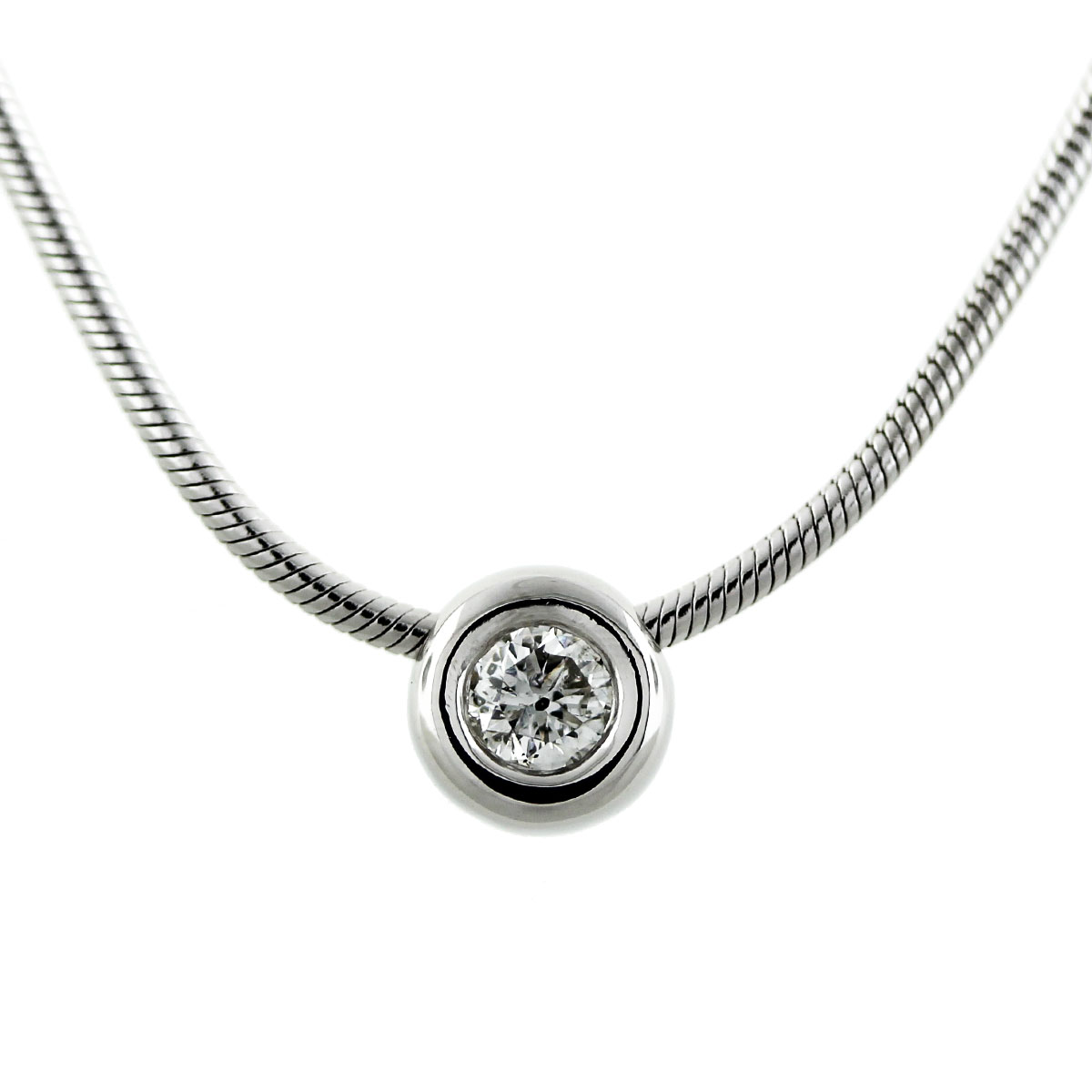 14k White Gold .30ct Round Brilliant Diamond Bezel Set Necklace