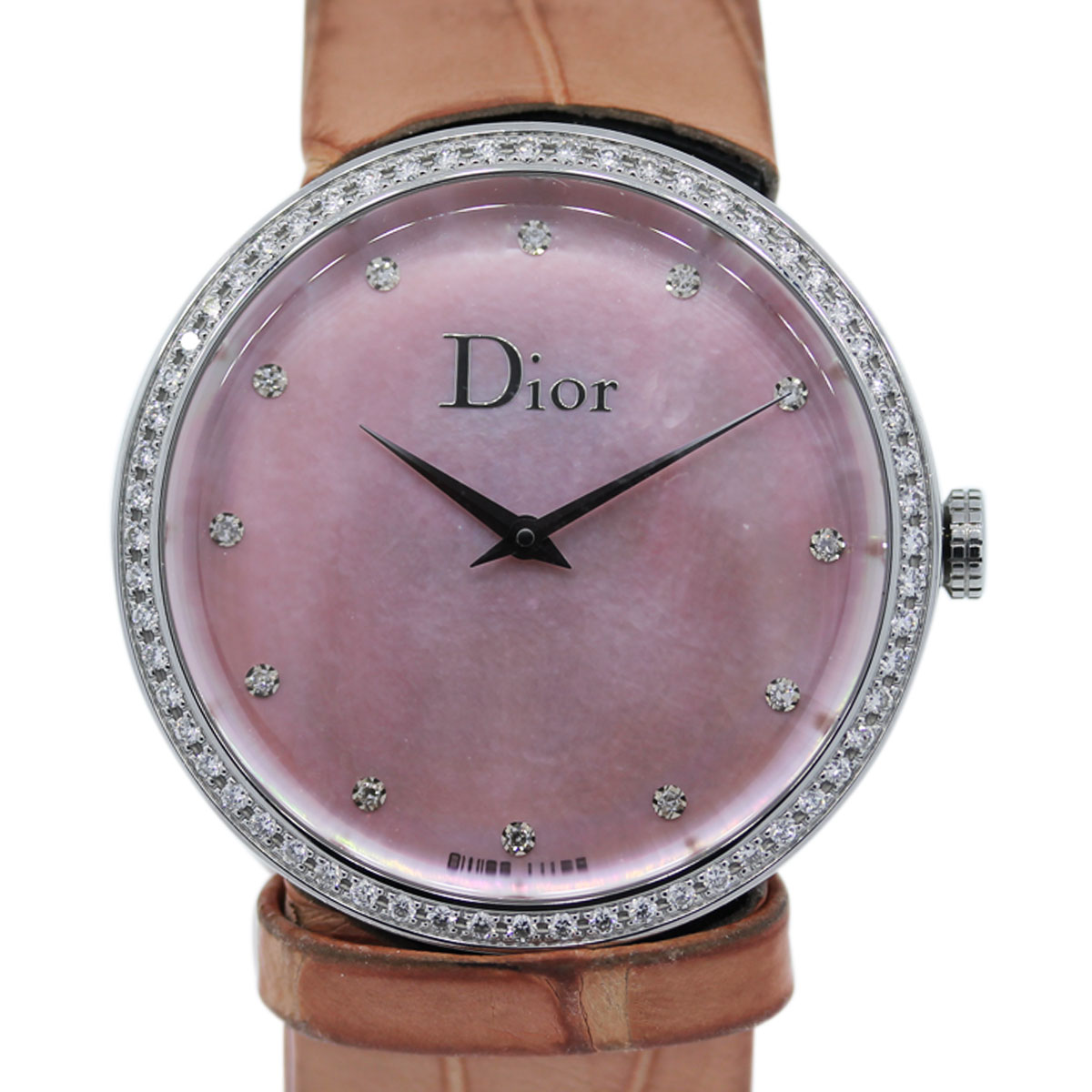 Dior Stainless Steel Pink MOP Diamond Watch