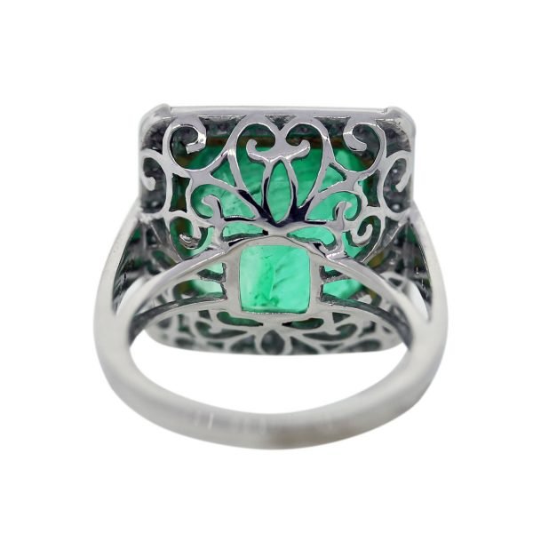 Estate Platinum and Yellow Gold Emerald Ring