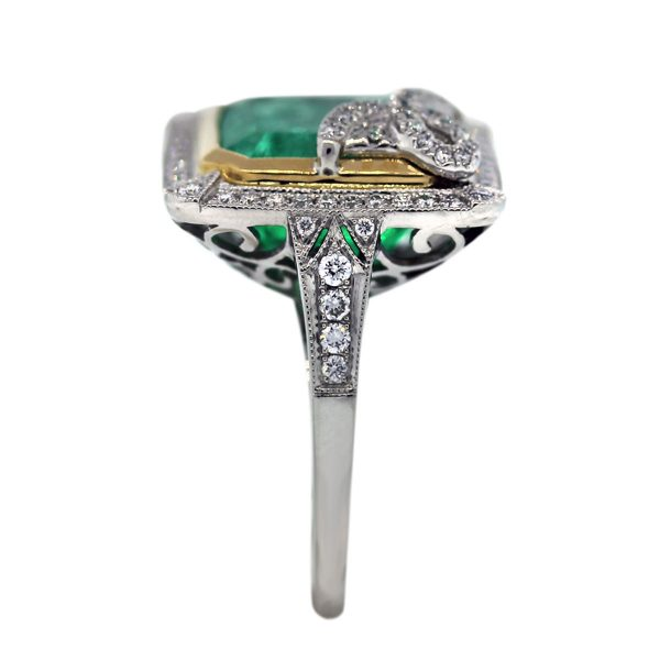 Pre Owned Diamond and Emerald Cocktail Ring