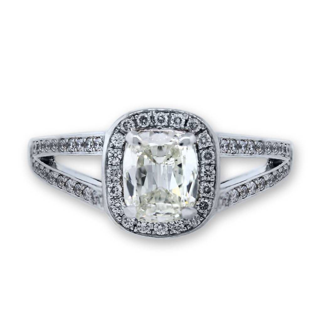 18k White Gold Cushion Cut Diamond Split Shank Engagement Ring
