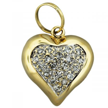 14kt yellow gold diamond cushion heart pendant