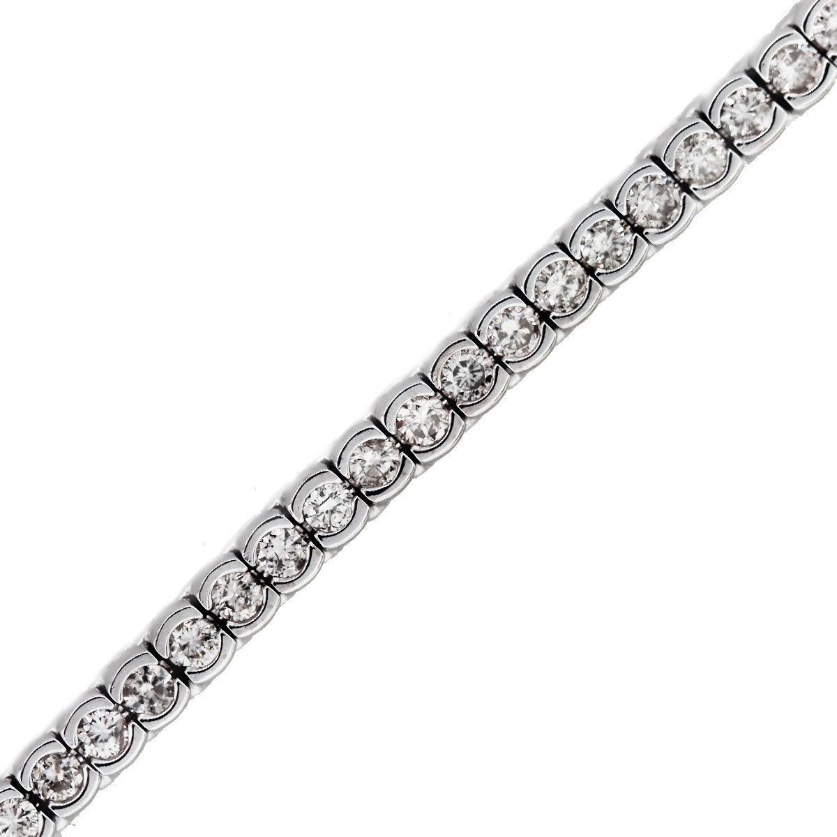 You are viewing this 14k White Gold 3ctw Half Bezel Set Diamond Tennis Bracelet!