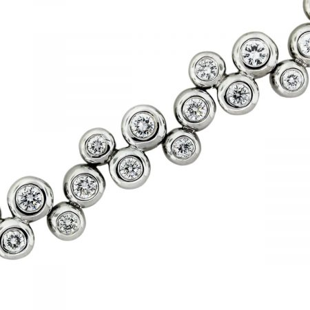 You are viewing this 14k White Gold 4.50ctw Diamond Bubble Bracelet!