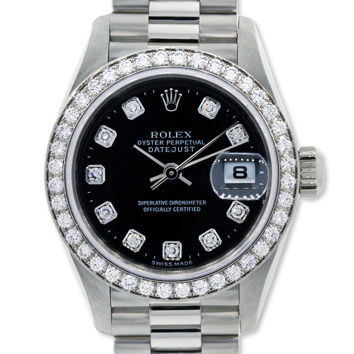 Rolex Presidential 18k White Gold Diamond Dial And Bezel Watch