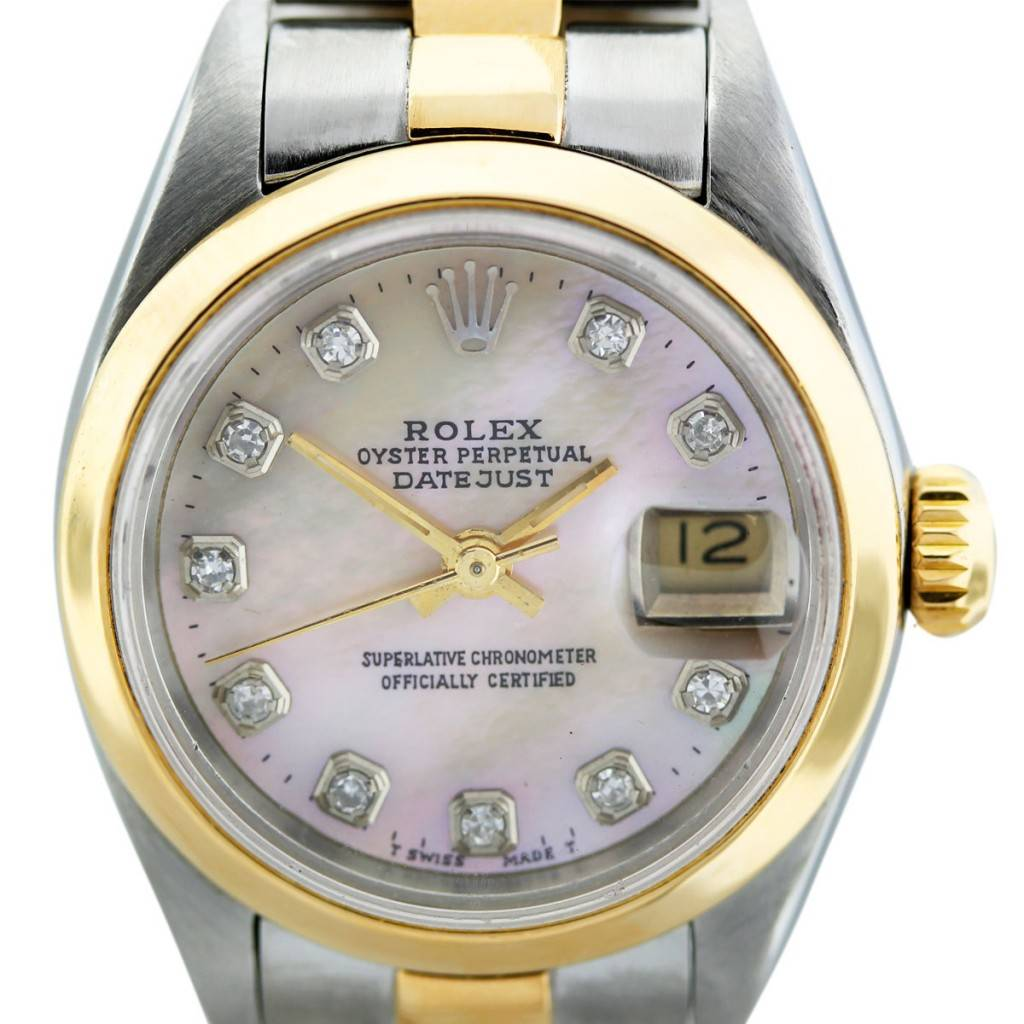Rolex Datejust 69173 TT Mother of Pearl Diamond Dial Ladies Watch 9ad09d7d9d6e
