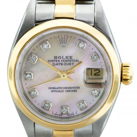 Rolex Datejust 69173 Two Tone Mother of Pearl Diamond Dial Ladies Watch