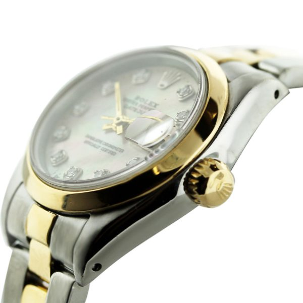Rolex Datejust 69173 Two Tone Mother of Pearl Diamond Dial Ladies Watch Crown